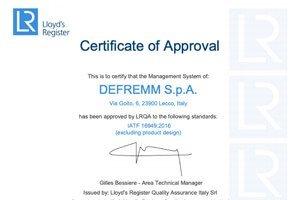 Nuova certificazione IATF 16949:2016